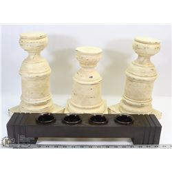 3 PILLAR CANDLE HOLDERS WITH TEALIGHT BAR