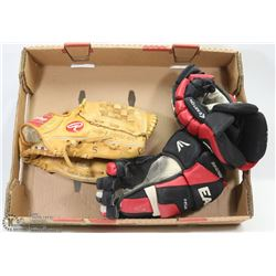 BOX W HOCKEY AND LEATHER BASEBALL GLOVE