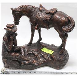 BRONZE LOOK  COWBOY & HORSE STATUE