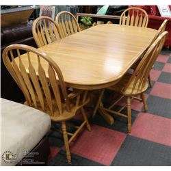 OAK KITCHEN DINING SET INCL TABLE,  6 CHAIRS AND