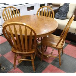 SOLID WOOD OAK TABLE WITH 4 CHAIRS