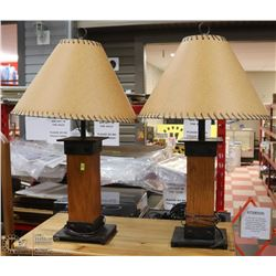SET OF 2 WOOD & METAL LAMPS