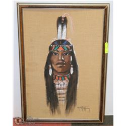 8) MEDICINE WOMAN ON BURLAP, PINK FEATHER TAIL