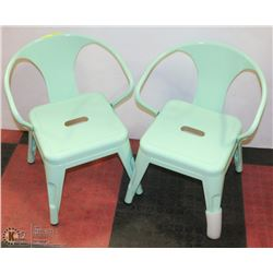 SET OF 2 LIGHT GREEN CHILDRENS CHAIRS