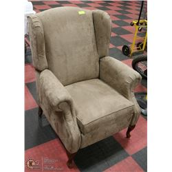BROWN MICROFIBER RECLINING WING BACK PARLOUR