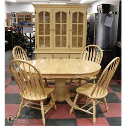 WOOD DINING ROOM SUITE INCL TABLE WITH 1 LEAF, 4