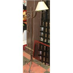 VINTAGE FLOOR LAMP WITH DECORATIVE WROUGHT IRON
