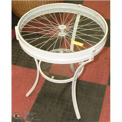 ROUND WHEEL GLASS END TABLE