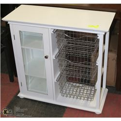 WHITE CABINET WITH DOOR AND  WIRE SHELVES