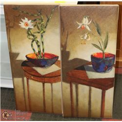 "SET OF 2 FOURBRO FLORAL CANVAS PICTURES 13""X30"""
