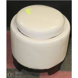 PAIR WHITE LEATHERETTE FOOT STOOL