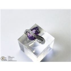 25) 14KT WHITE GOLD AMETHYST CUBIC RING