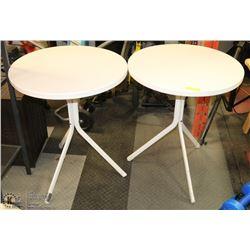 2 WHITE METAL ROUND TABLES
