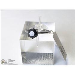 33) 10KT WHITE GOLD BLACK DIAMOND RING