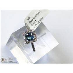 36) 14KT  GOLD BLUE DIAMOND W/ SIDE DIAMOND RING