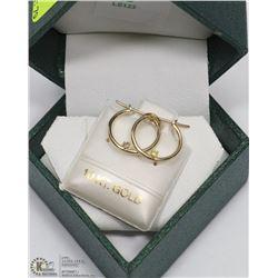 39) 14KT GOLD DIAMOND HOOP EARRINGS