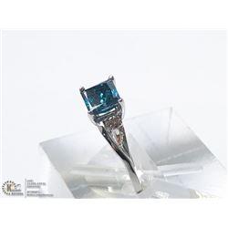 45) 10KT GOLD BLUE DIAMOND W/ SIDE DIAMONDS RING