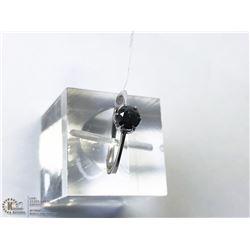 46) 10KT WHITE GOLD BLACK DIAMOND RING