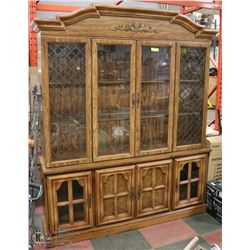 2PC WOOD CHINA CABINET WITH LIGHTING, GLASS