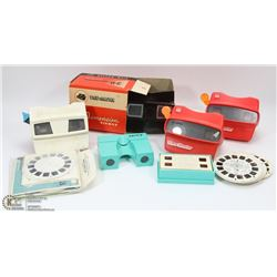 BOX OF VIEWMASTER SLIDE VIEWERS WITH SLIDES