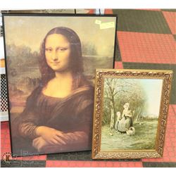 "MONA LISA 20""X28"" AND VINTAGE PRINT 15""X18"""