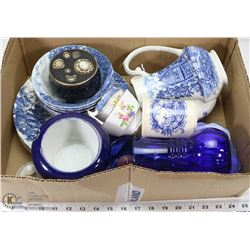 FLAT OF ASSORTED BLUE CHINA, INCLUDES SHAKESPEARE