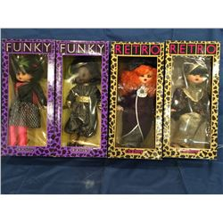 Lot of 4 Clodrey Made in France Dolls MIB  *** Funky & Retro*** 1980's
