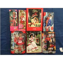 Lot of 6 Coca Cola Barbies MIB