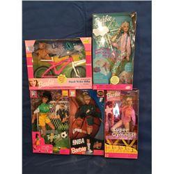 Lot of 5 Sports MIB Dolls, Barbie & Teresa
