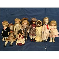 Lot of 9 Porcelain Dolls not in Boxes