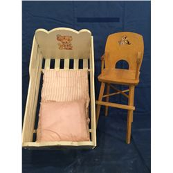 Rocking wood Cradle and High Chair for Doll