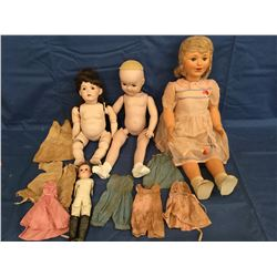 Lot of Dolls need TLC including small German Bisque 275 with clothes