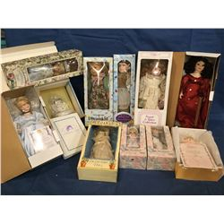 11 Porcelain Dolls in Boxes