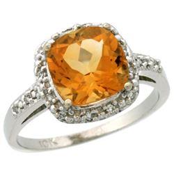 Natural 3.92 ctw Citrine & Diamond Engagement Ring 14K White Gold - REF-35V2F