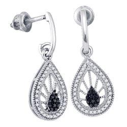 0.35 CTW Black Color Diamond Teardrop Dangle Earrings 10KT White Gold - REF-30K2W