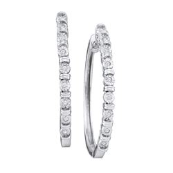 0.05 CTW Diamond Single Row Hoop Earrings 10KT White Gold - REF-20H9M