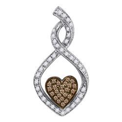 0.27 CTW Cognac-brown Color Diamond Heart Love Pendant 10KT White Gold - REF-24X2Y