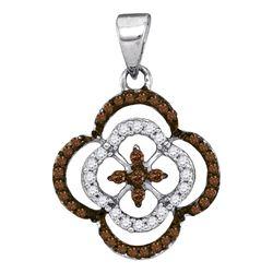0.25 CTW Cognac-brown Color Diamond Cluster Pendant 10KT White Gold - REF-13X4Y