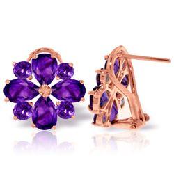 Genuine 4.85 ctw Amethyst Earrings Jewelry 14KT Rose Gold - REF-58T4A