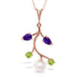 Genuine 2.7 ctw Multi-gemstone Necklace Jewelry 14KT Rose Gold - REF-29Z7N