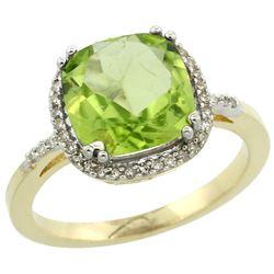 Natural 4.11 ctw Peridot & Diamond Engagement Ring 10K Yellow Gold - REF-38F2N