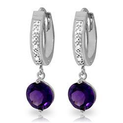 Genuine 2.63 ctw Amethyst & Diamond Earrings Jewelry 14KT White Gold - REF-54R9P