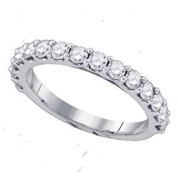 0.26 CTW Pave-set Diamond Single Row Wedding Ring 14KT White Gold - REF-22K4W