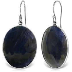 Genuine 40 ctw Sapphire Earrings Jewelry 14KT White Gold - REF-103T8A