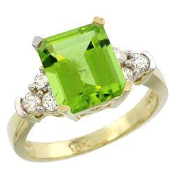 Natural 2.86 ctw peridot & Diamond Engagement Ring 14K Yellow Gold - REF-65K3R