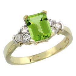 Natural 1.48 ctw peridot & Diamond Engagement Ring 14K Yellow Gold - REF-52R2Z