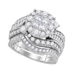 2.03 CTW Princess Diamond Soleil Bridal Engagement Ring 14KT White Gold - REF-269Y9X