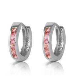Genuine 1.30 ctw Sapphire Earrings Jewelry 14KT White Gold - REF-42W6Y