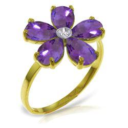 Genuine 2.22 ctw Amethyst & Diamond Ring Jewelry 14KT Yellow Gold - REF-35A9K