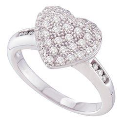 0.50 CTW Diamond Heart Ring 14KT White Gold - REF-44M9H